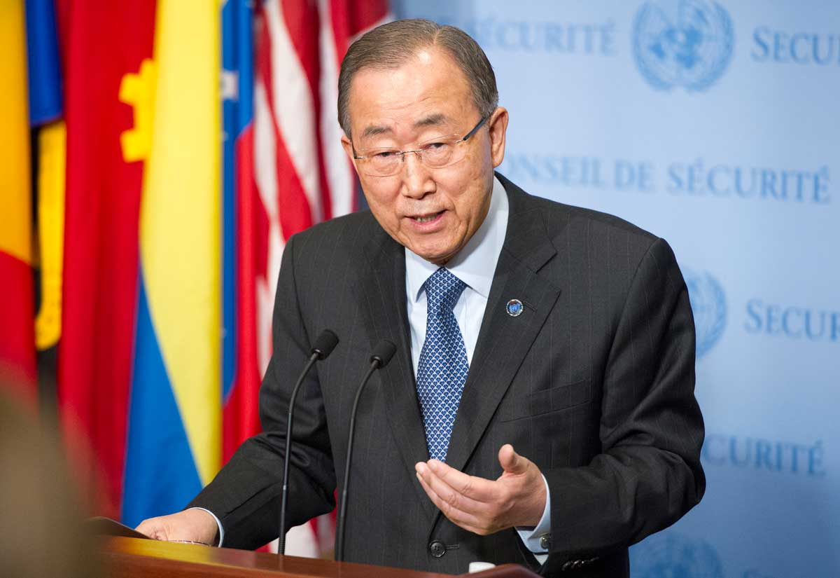 Photo: Secretary-General Ban Ki-moon speaks to the press on 14 December upon returning from the COP21 in Paris.