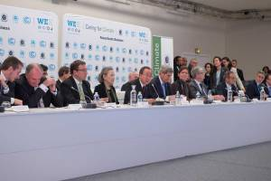 Photo: Ban Ki-moon (centre) addresses a high-level Caring for Climate Business Forum under the Lima-Paris Action Agenda during the COP21.