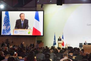 Photo: Secretary-General Ban Ki-moon attends/speaks at Opening of High-Level Segment of COP21.