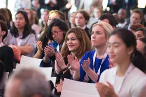 """Photo: Audience members listen to Ban Ki-moon address the """"Earth To Paris"""" event."""