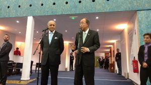 Photo: Ban Ki- moon and Laurent Fabius, President of COP21 hold a press stakeout after meeting.