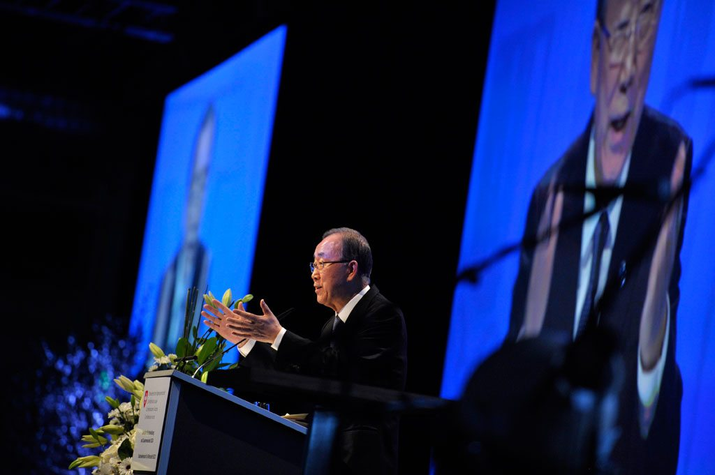 Photo: Secretary-General Ban Ki-moon delivers his keynote address at the 2030 Agenda for Sustainable Development in Zurich, Switzerland.