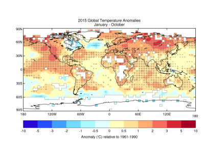 Figure 1: Average temperature anomalies for January to October 2015 from the HadCRUT.4.4.0.0 data set. Crosses (+) indicate temperatures that exceed the 90th percentile, signifying unusual warmth, and dashes (-) indicate temperatures below the 10th percentile, indicating unusually cold conditions. Large crosses and large dashes indicate temperatures outside the range of the 2nd to 98th percentiles. Source: Met Office Hadley Centre.