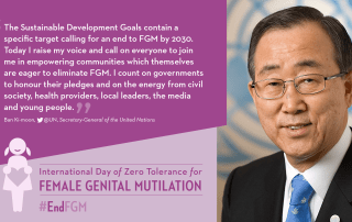 Image: Ban Ki-moon's message for the International Day to End Female Genital Mutilation.