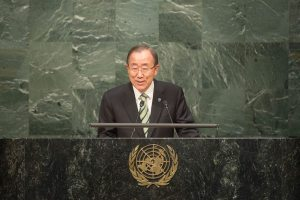 Photo: Ban Ki-moon addresses the Opening Ceremony of the High-Level Event for the Signature of the Paris Agreement.