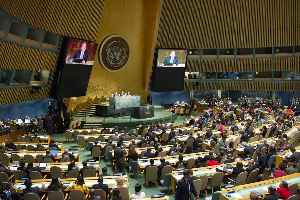 Photo: A view of the General Assembly Hall during the High-level Meeting on HIV/AIDS. UN Photo/Rick Bajornas