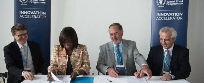 Photo: WFP Executive Director Ertharin Cousin (2nd left) launches the Innovation Accelerator project, based in Munich, Germany, to end hunger by 2030. Photo: WFP