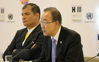 Photo: Ban Ki-moon speaks at a press conference with Ecuador President Rafael Correa.