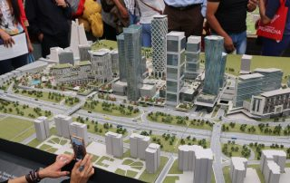 Photo: A model of a Turkish sustainable city is front and center in the Turkey booth.