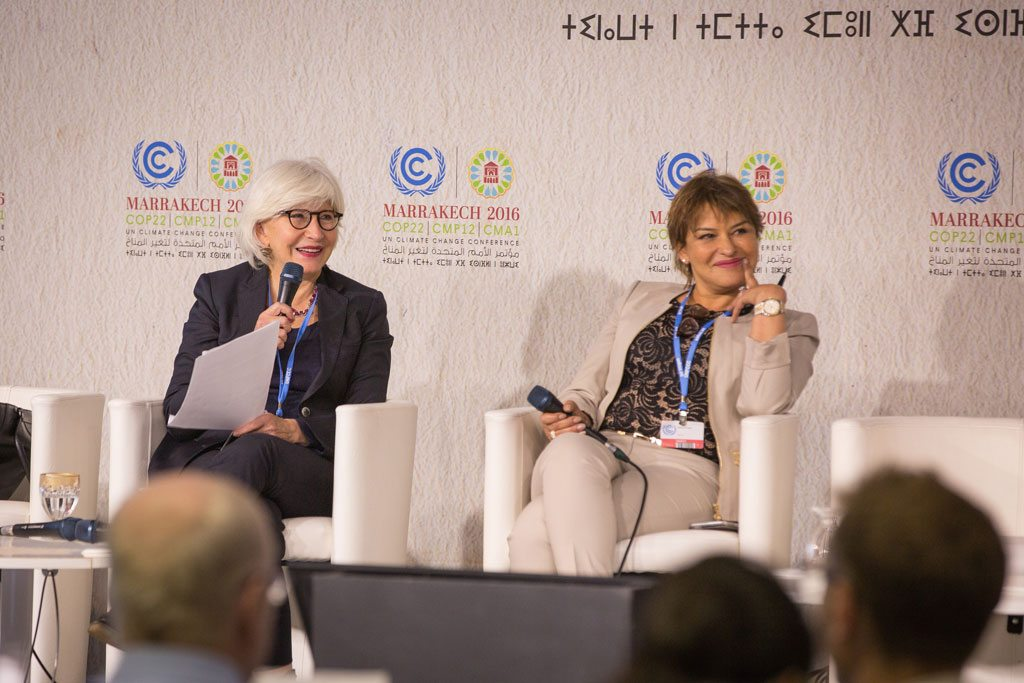 Photo: High level champions, Ambassador Laurence Tubiana (left) and Minister-Delegate Hakima el Haite hold a press conference in Marrakech, Morocco, to explain in detail their plans for climate action during COP 22 and beyond.
