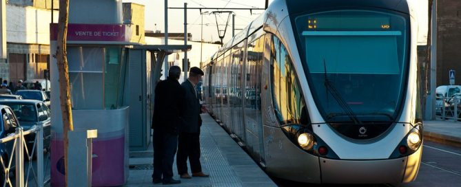 Photo: In Morocco, people wait to board the tram providing service between Rabat and Salé cities.