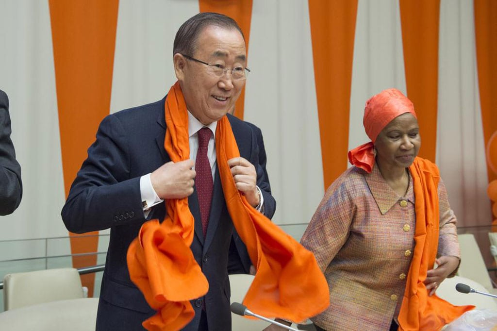 "Photo: Secretary-General Ban Ki-moon (left) and Phumzile Mlambo-Ngcuka, Executive Director of UN Women during a special event entitled ""Orange the World: Raise Money to end Violence against Women,"" commemorating the International Day for the Elimination of Violence against Women (25 November)."
