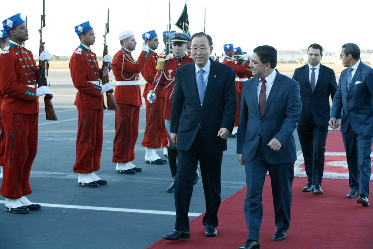 Photo: Secretary-General Ban Ki-moon (left) is met by Nasser Bourita, Minister Delegate for Foreign Affairs for Morocco, in Marrakesh.