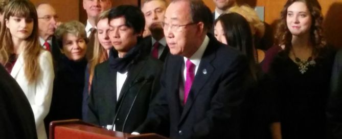 Photo: Ban Ki-moon speaks to reporters on the day the Paris Agreement entered into force.