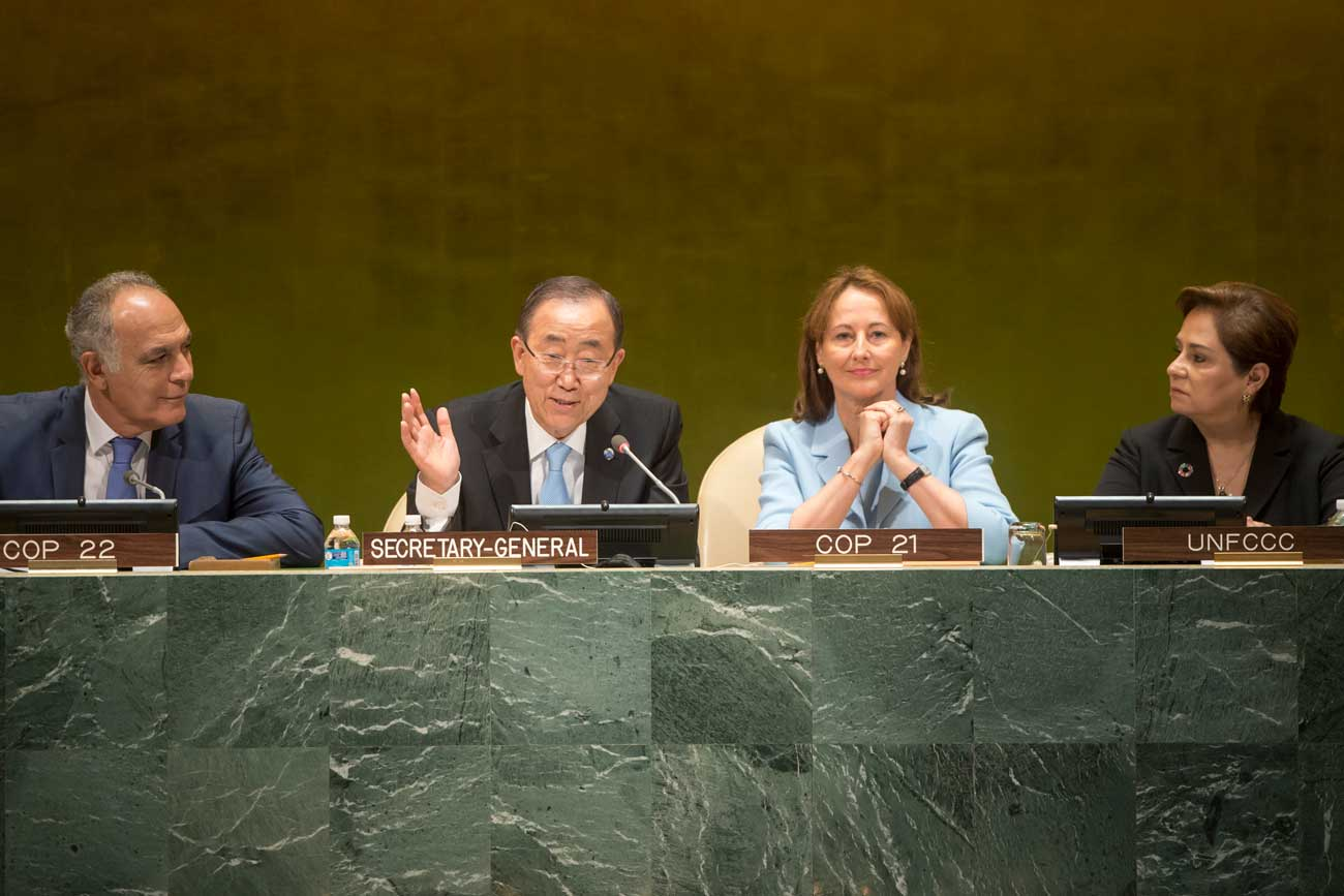 Photo: From left: Salaheddine Mezouar, Minister for Foreign Affairs and Cooperation of the Kingdom of Morocco; UN Secretary-General Ban Ki-moon; Ségolène Royal, Minister of the Environment, Energy and Marine Affairs of France; and Patricia Espinosa, Executive Secretary of UNFCCC.