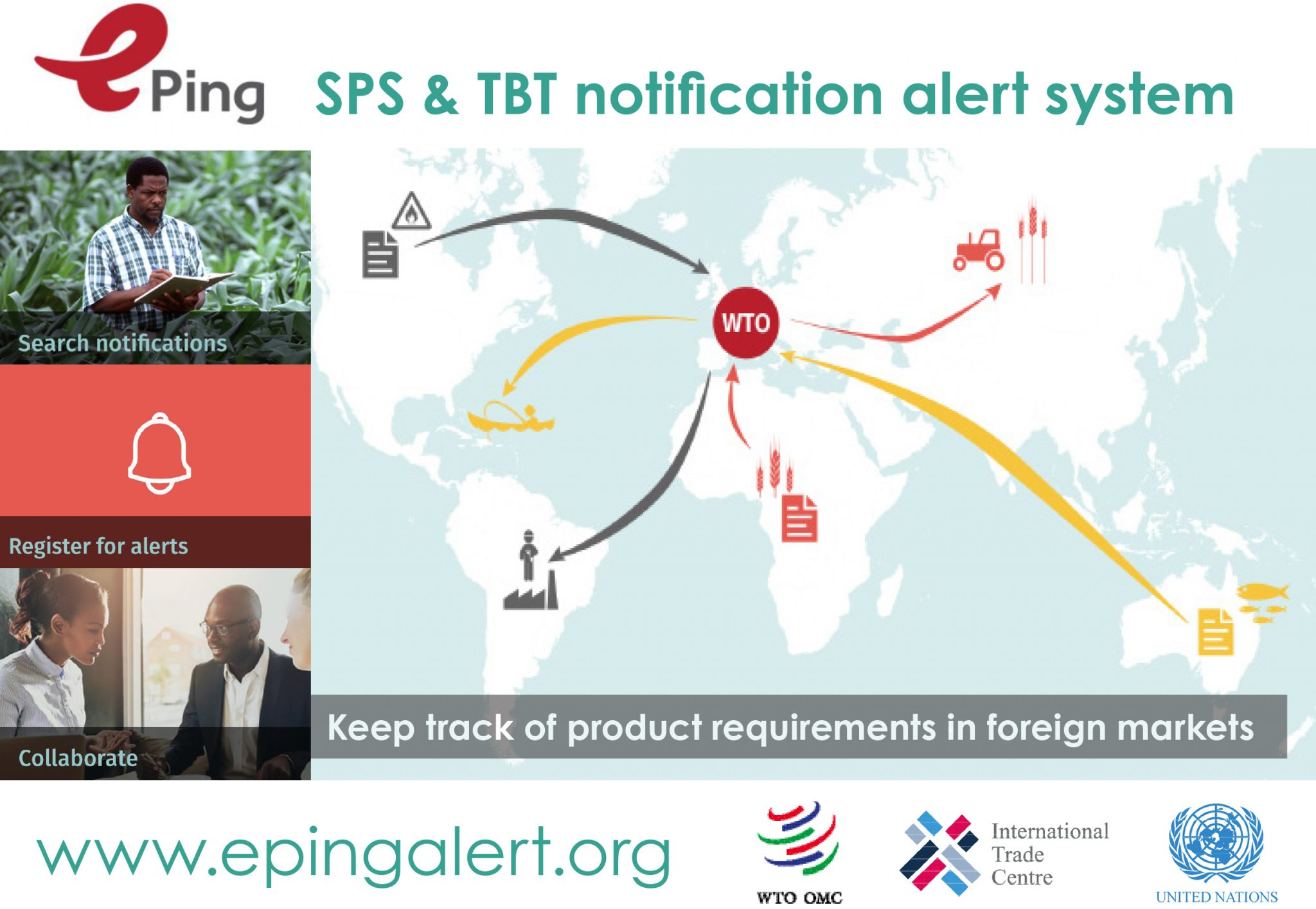 Image: Users of ePing will be able to easily keep up-to-date with notifications affecting foreign markets and products of particular interest to them.