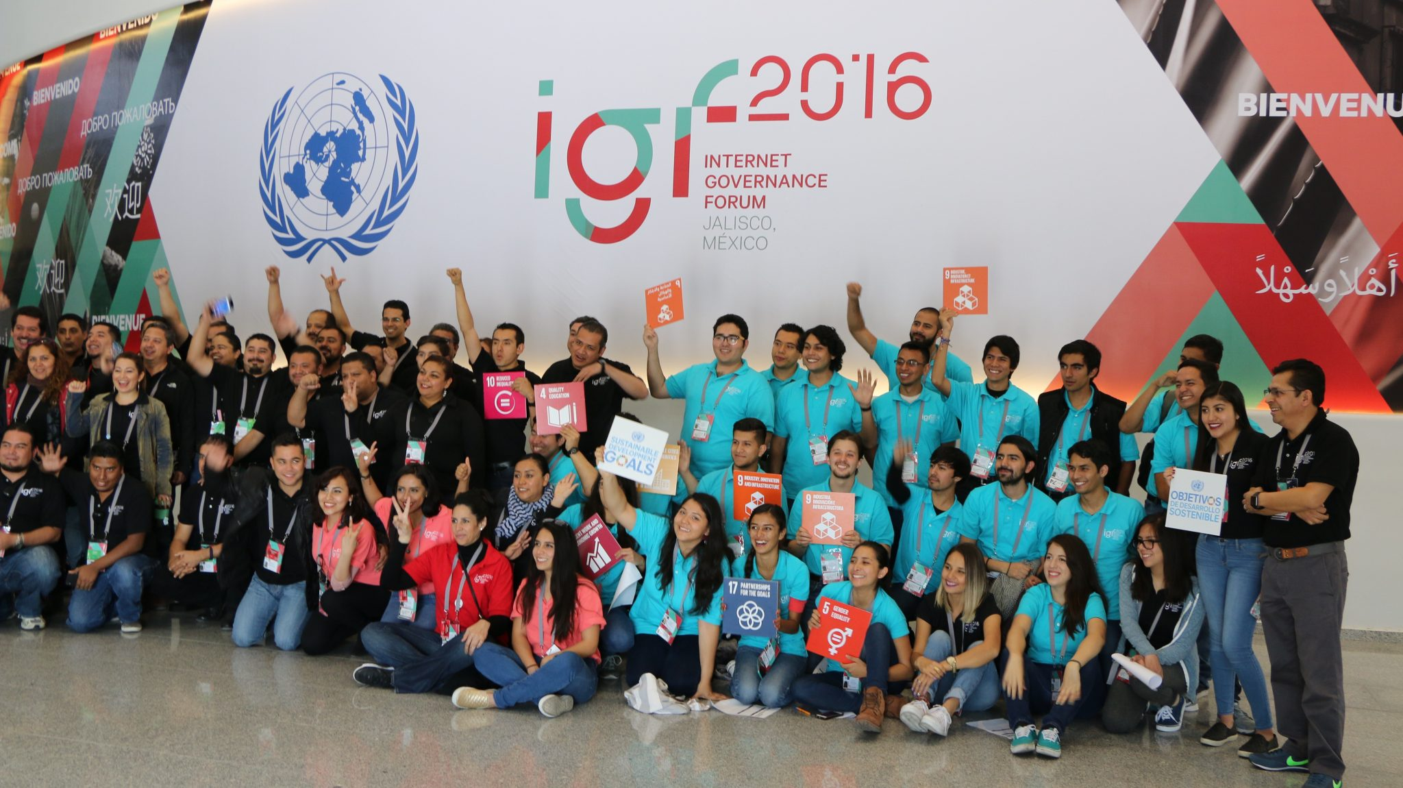 Photo: Internet Governance Forum participants and volunteers in Jalisco, Mexico, pose with the Sustainable Development Goal icons.