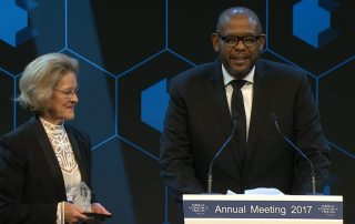 Photo: UN agency envoy Forest Whitaker honoured at the 47th World Economic Forum Annual Meeting in Davos, Switzerland.