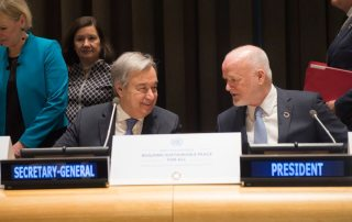Photo: Secretary-General António Guterres (left) with Peter Thomson, President of the General Assembly, at the high-level dialogue on building sustainable peace for all.