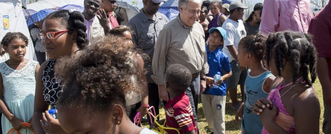 Photo: Secretary-General António Guterres greets people in Dominica on 8 October 2017.