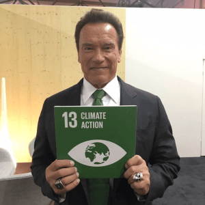 PHOTO: Arnold Schwarzenegger supports Goal 13 Climate Action at COP23.