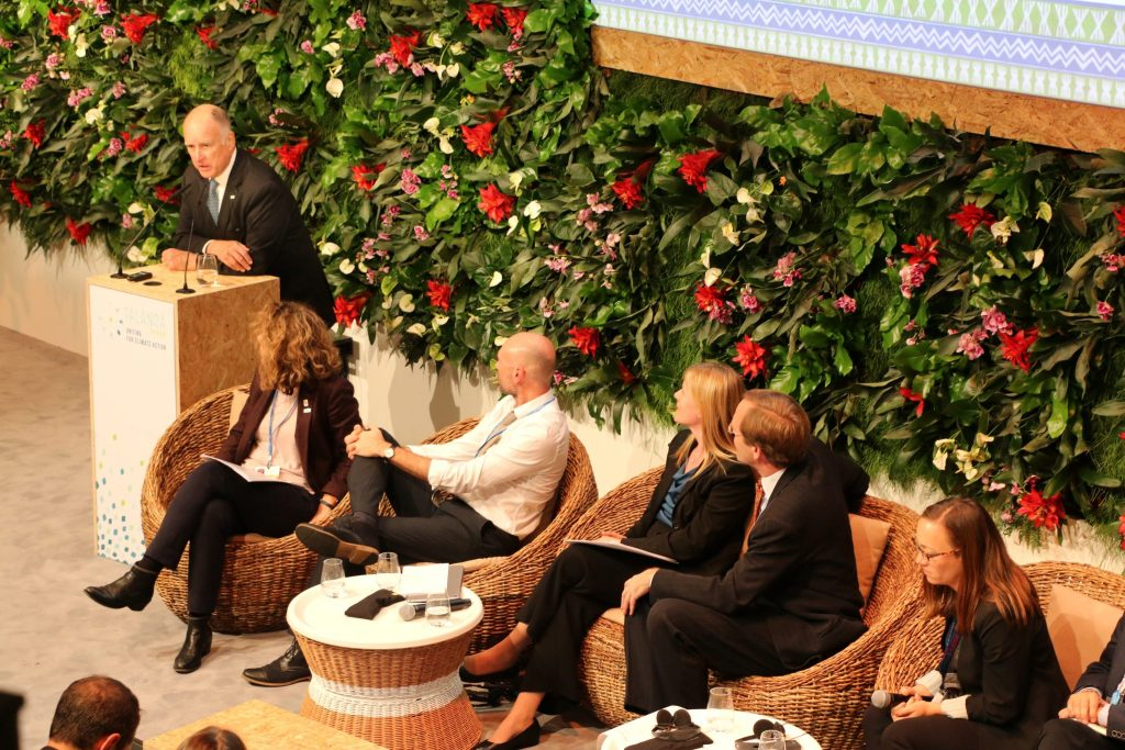 Photo: California Gov. Jerry Brown speaks on the urgency of climate action at the Talanoa space of COP23.