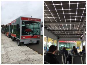Photo: Electric shuttles running on 100% renewable energy help COP23 participants get around the climate conference venue.