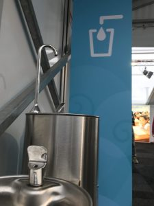 Photo: COP23 participants are encouraged to use reusable water bottles and fountains can be found all over the conference centre.