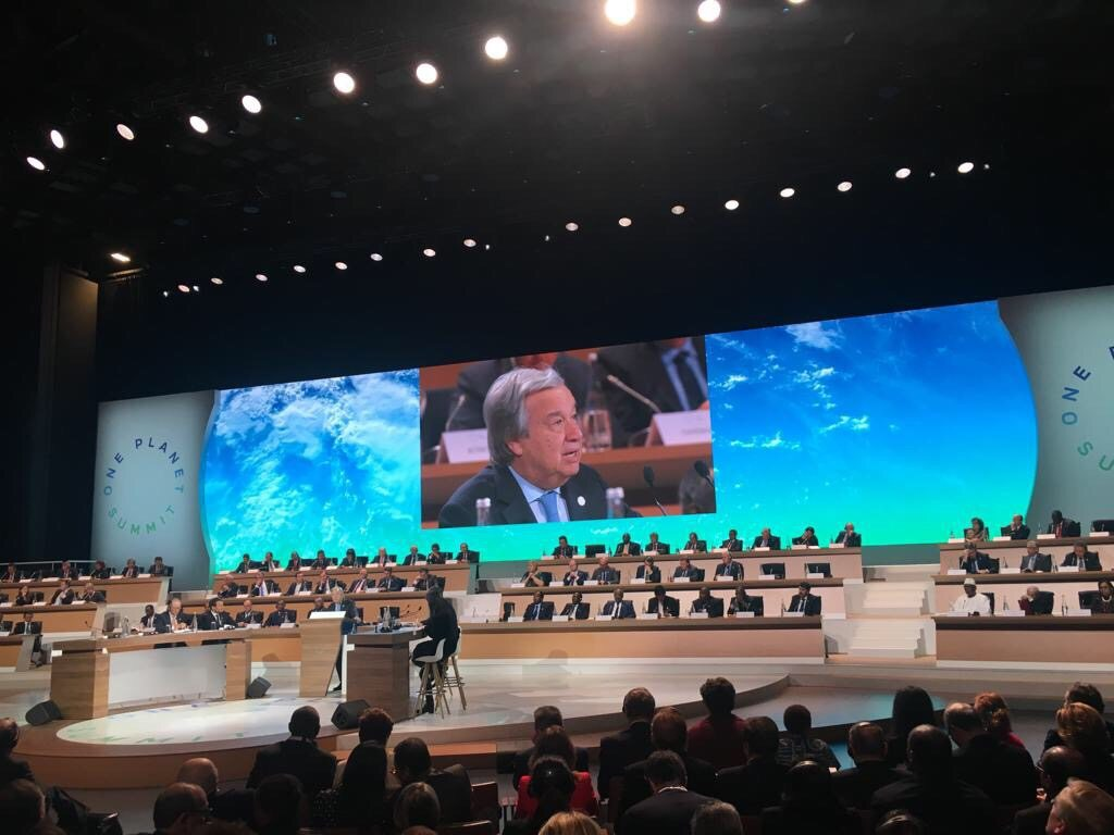 Photo: The Secretary-General addresses the One Planet Summit in Paris on 12 December 2017.