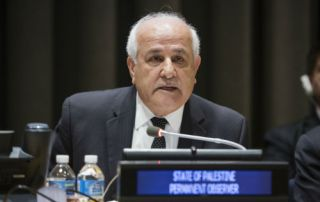 H.E. Mr. Riyad Mansour, Permanent Observer of the State of Palestine, reading out a message from H.E. Mr. Mahmoud Abbas, President of the State of Palestine at the Special Meeting of the Committee on the Exercise of the Inalienable Rights of the Palestinian People