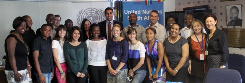 Ahmad Alhendawi with the UN Country Team and Youth Focal Points