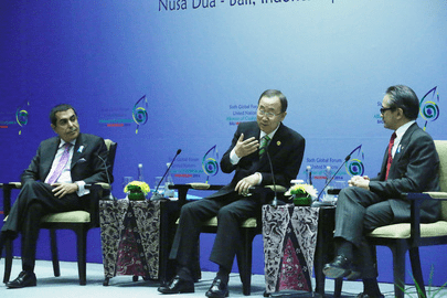 United Nations Secretary-General Ban Ki-moon; UN High Representative for the Alliance of Civilizations Nassir Abdulaziz Al-Nasser; and Marty M. Natalegawa, Minister for Foreign Affairs of the Republic of Indonesia attend the 6th Forum of the United Nations Alliance of Civilizations in Bali, Indonesia