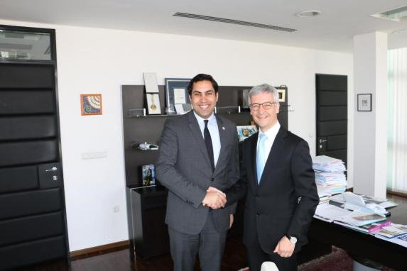 The Secretary-General's Envoy on Youth with Minister of Education, Science and Sport of Slovenia, H.E. Jernej Pikalo.