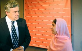 Malala Yusufzai and Gordon Brown