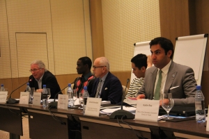 A panel featuring the Youth Envoy at the International Stakeholder's Meeting before the First Global Forum on Youth Policies