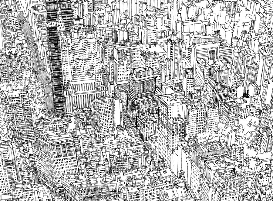 http://www.patrickvale.co.uk/Projects/NYC-Midtown-line-drawing
