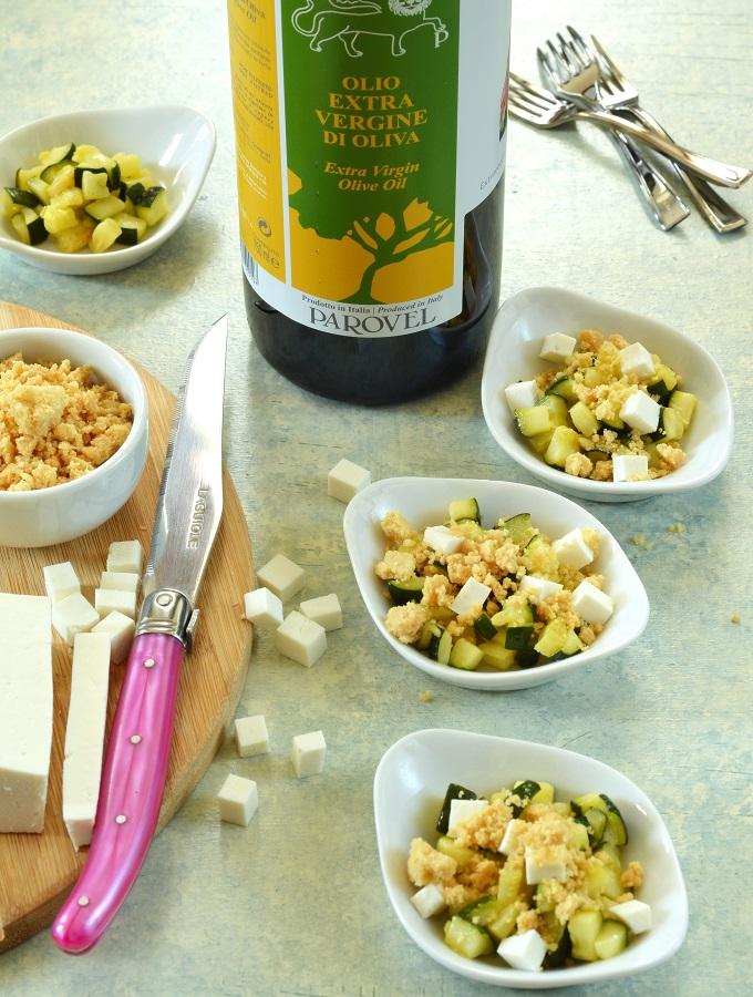 Crumble all'olio extra vergine con zucchine e ricotta di pecora