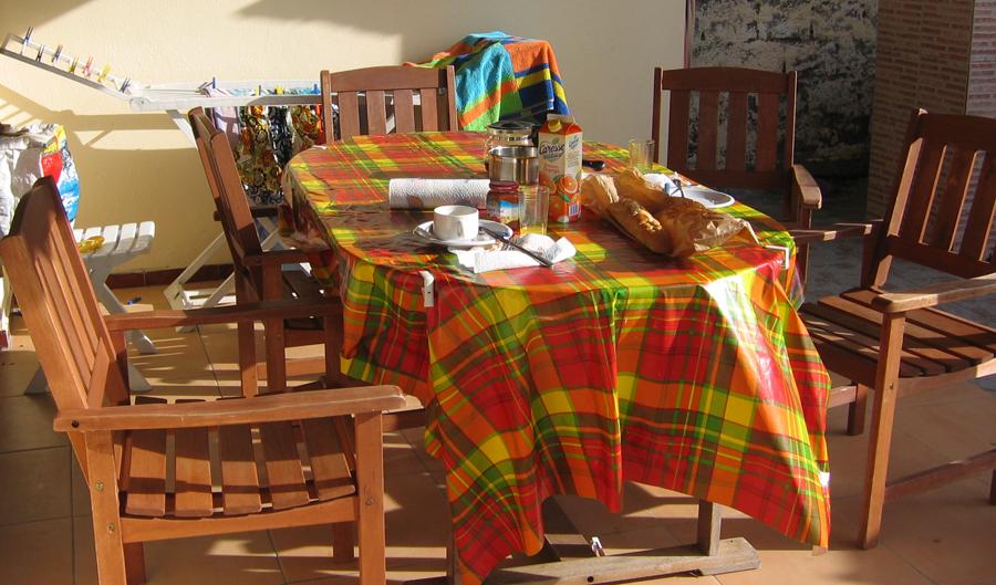 Colazione in veranda in una casa presa in affitto da privati.