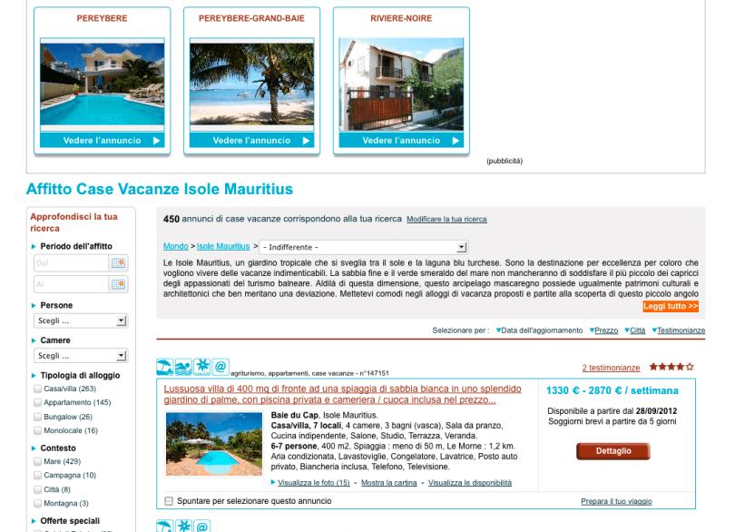 Homelidays: gli alloggi proposti a Mauritius.