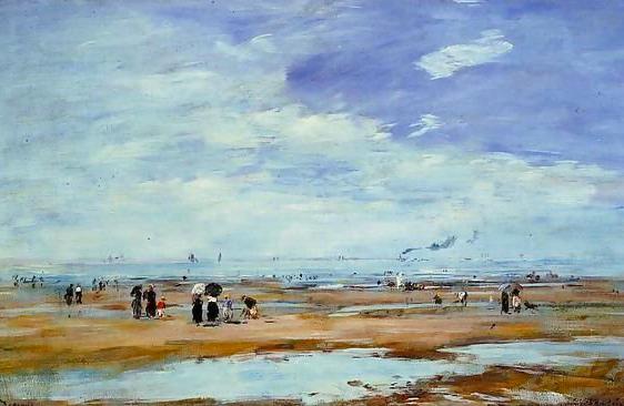 Dipinto di E. Boudin: Spiaggia di Deauville