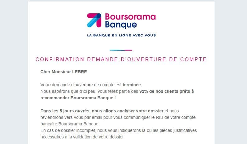 Mail de confirmation d'inscription à Boursorama Banque