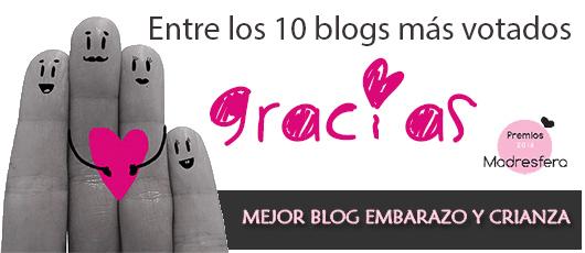 Entre los 10 blogs más votados en los Premios Madresfera 2016. GRACIAS