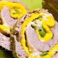 Arrosto di maiale con frittata piselli e formaggio