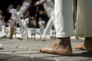 Brazilian capoeira group performing at night in Salvador, Bahia,