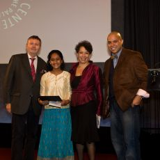 "PLURAL + 2010 INTERNATIONAL JURY AWARD, 9-12 age category, accepted by Aarohi Mehendale. With Marc Scheuer, Michele Klein Solomon and Geroge ""Rithm"" Martinez  •	 Just Let Differences Be (4:22 min., India, by Aarohi Mehendale)"