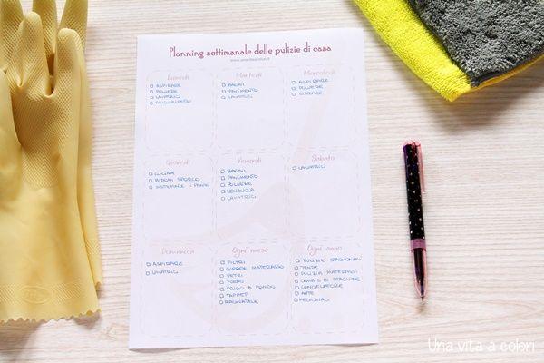Planning settimanale delle pulizie di casa