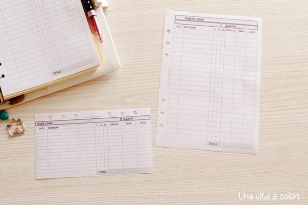 Refill del bilancio familiare per agenda Filofax
