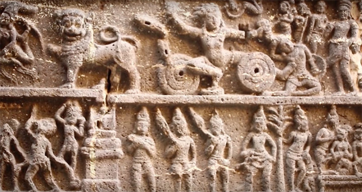 Details of carving on temple's wall