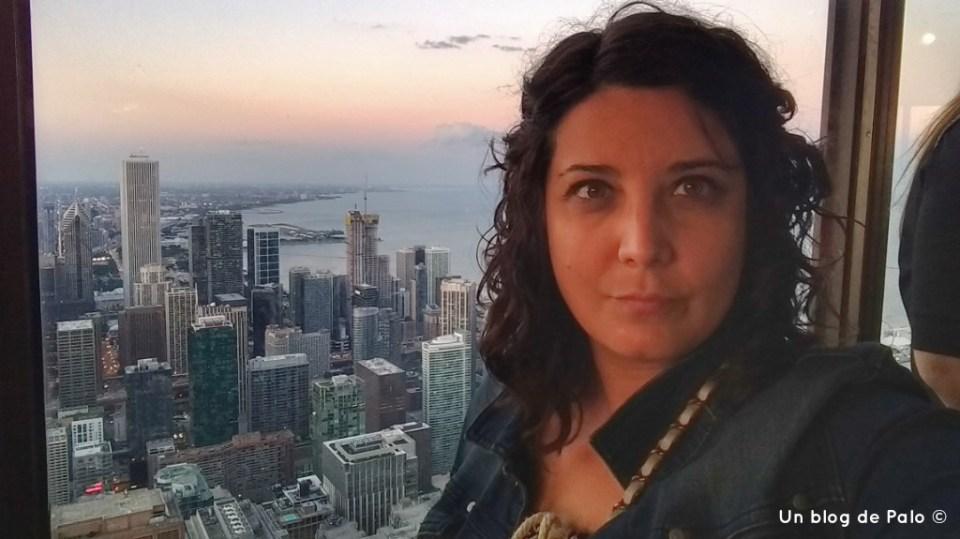 Vistas de Chicago al atardecer en la torre Hancock