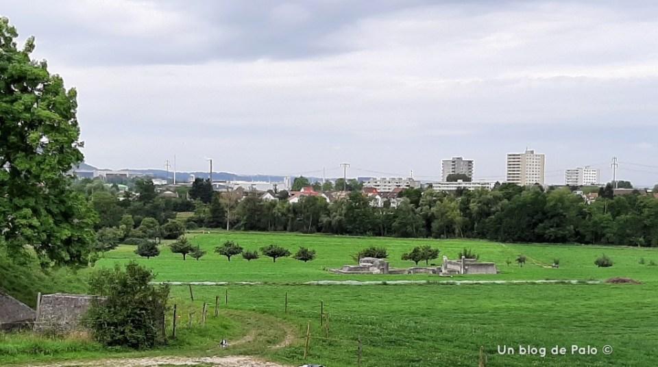 Vistas desde el parque arqueológico hacia el valle del Rhin y Basilea